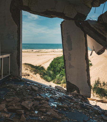 Sea Seen Through Abandoned Building