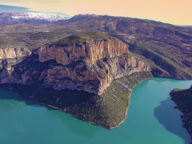 Travel Destinations Drone  Nogera Pallaresa River Gorge In The Region Of La Noguera Province Of Lérida Train Of The Lakes Route From Lérida To The Seu Of Urgell Beauty In Nature Day Drone Photography Mountain Nature No People Outdoors Physical Geography Scenics Sky Tranquility Water Waterfront