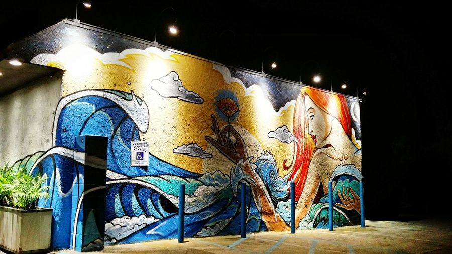 Mural in Leucadia, CA at night. Multi Colored No People Graffiti Street Art Mural Night Leucadia Encinitas Encinitas California California Art Black Colorful PCH Highway 101 San Diego Beachtown Southern California Surfing First Eyeem Photo