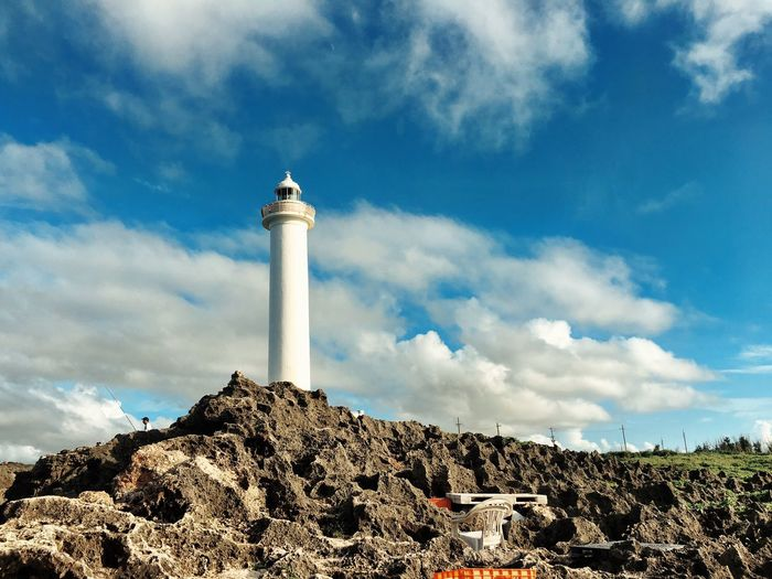 Cloud - Sky Sky Lighthouse Nature Outdoors Beauty In Nature Scenics Tranquility Serenity Japan Okinawa Cape Zanpa Architecture Idyllic Blue Sky Cerulean Coast