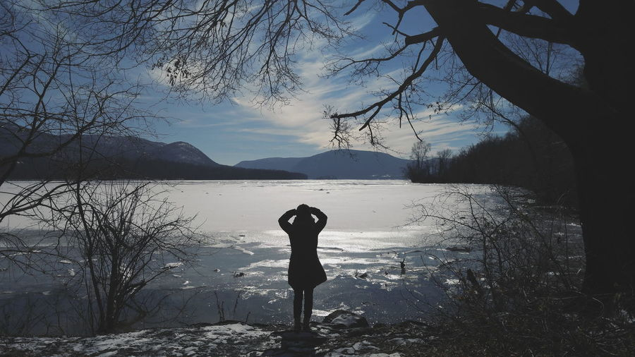 Upstateny Upstate New York Upstate Girl Silhouette Mountain River Hudsonvalley Hudsonriver Blue Winter Ice Snow