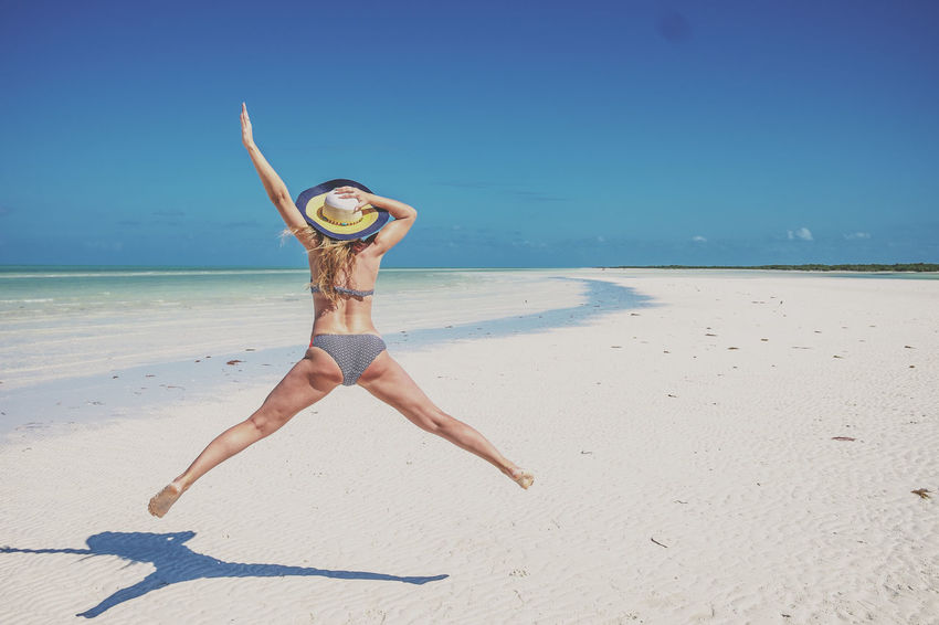 Beach Sand Swimwear One Person Beautiful People Happiness Sea Vacations Beauty Bikini Jumping One Woman Only Holbox Island Holbox Mexico Travel Yúcatan Fun Funday Water Beauty In Nature Nature