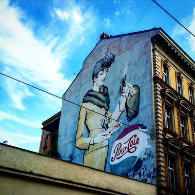 Prague Czech Republic Art Graffiti Pepsicola Sky Summer Urban
