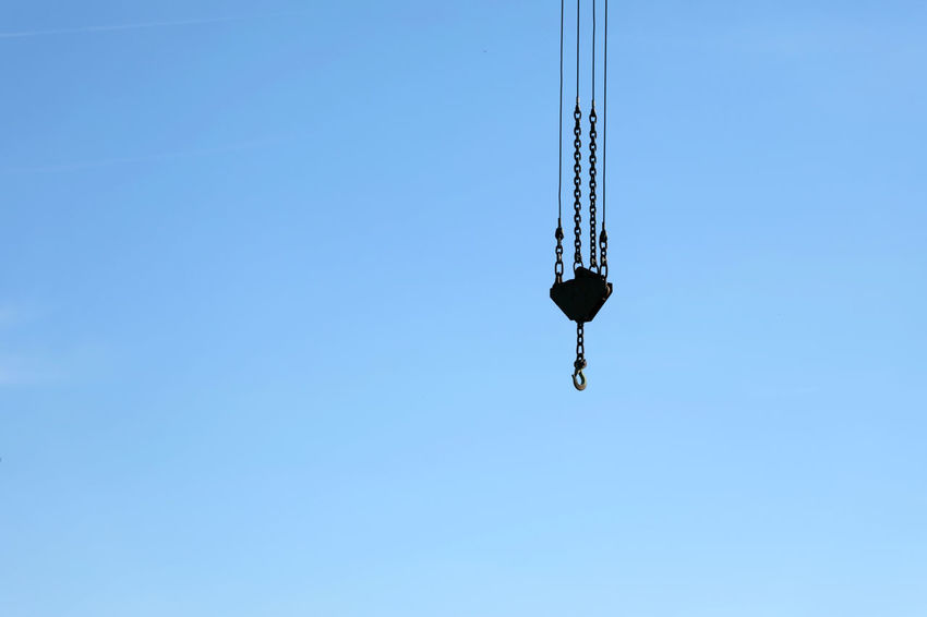 crane hook Blue Chain Clear Sky Crane Crane Hook Day Hanging Heavy Heavy Equipment Hook Lifting Low Angle View Metal Nature No People Outdoors