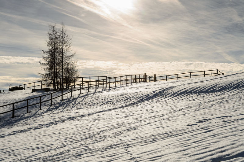 Albispass Albis Langnau Am Albis Switzerland Sky Winter Cloud - Sky Snow Nature Cold Temperature No People Fence Railing Outdoors Scenics - Nature Land Day Beauty In Nature Sun 17.62°