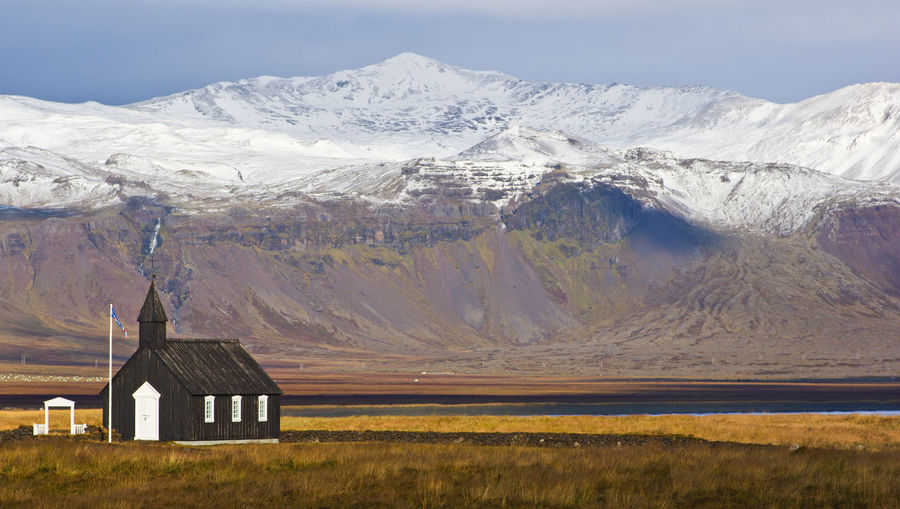 Mountain Scenics - Nature Architecture Landscape Mountain Range Beauty In Nature No People Built Structure Environment Day Tranquil Scene Cold Temperature Snowcapped Mountain Mountain Peak Outdoors Black Church Iceland