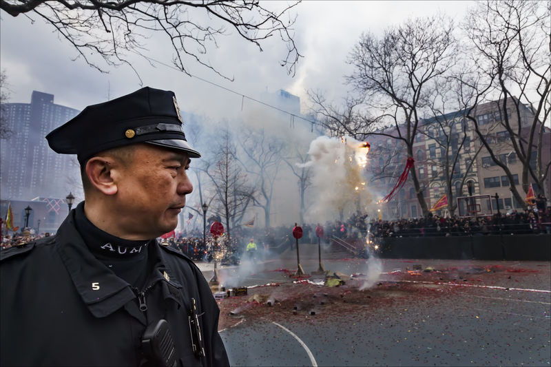 Lunar New Year NYC 2017 Asian Auxiliary Policeman Auxiliary Police And Fireworks Ethnic Pride Fireworks Lunar New Year 2017