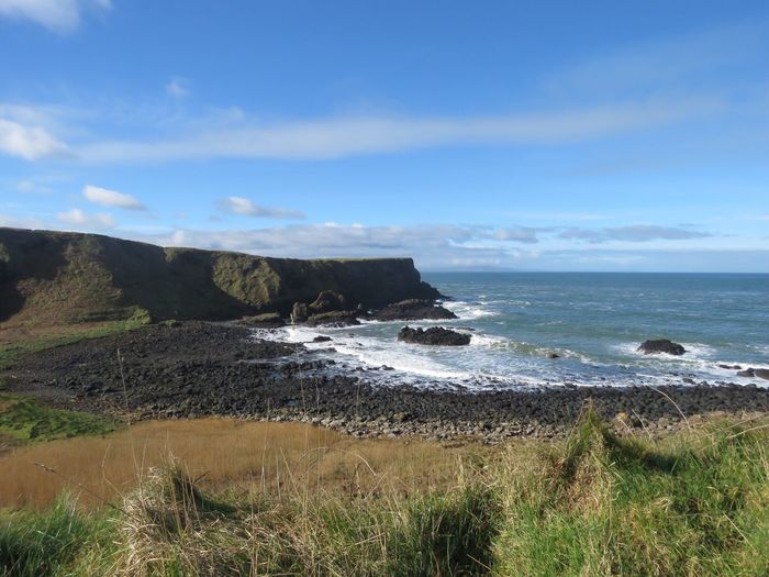 Sea Water Horizon Over Water Tranquil Scene Scenics Grass Sky Tranquility Beauty In Nature Idyllic Non-urban Scene Nature Cliff Seascape Coastline Plant Blue Tourism Northern Ireland Giants Causeway Cloud