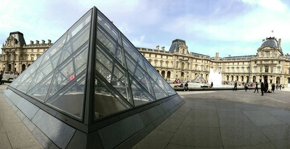 Louvre Paris Architecture Travel Destinations City Tourism History Building Exterior Outdoors Cultures Transparent Relection EyeEmNewHere Shadow Textures And Surfaces Engineering Architecture Low Angle View Built Structure No People Contemporary Architecture
