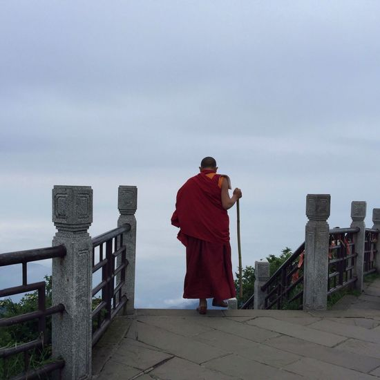 Monk from Seda Golden Summit Mount Emei Passenger Traveling IPhoneography On The Way