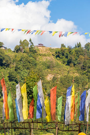 ASIA Travel Bhutan Buddhism Environment Landscape Multi Colored Prayer Flags  Religion Spirituality Tourism Travel Destinations