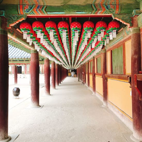 The Way Forward Architecture Built Structure Architectural Column Multi Colored Corridor Red No People Day Indoors  Travel Kyeongju IPhoneography IPhone Temple Buddha Buddhist Temple Buddhism Bulguksa Bulguksa Temple 佛教 Korea EyeEmNewHere EyeEm Selects