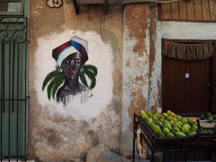 Architecture Building Exterior Fruit Built Structure Wall - Building Feature Healthy Eating No People Food And Drink Building Food Wall Day Art And Craft Door Old Representation Entrance Wellbeing Avocado Graffiti Cuba Still Life Art