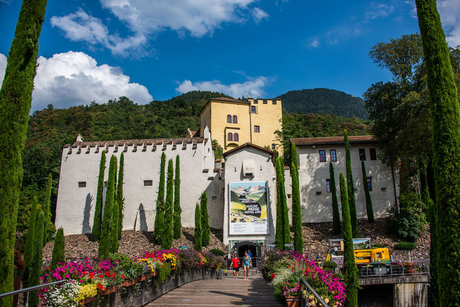 Castle Architecture Building Building Exterior Built Structure Cloud - Sky Day Direction Flower Flowering Plant Growth House Incidental People Italy Merano Mountain Nature Outdoors Plant Residential District Sky South Tyrol The Way Forward Trauttmansdorff Tree