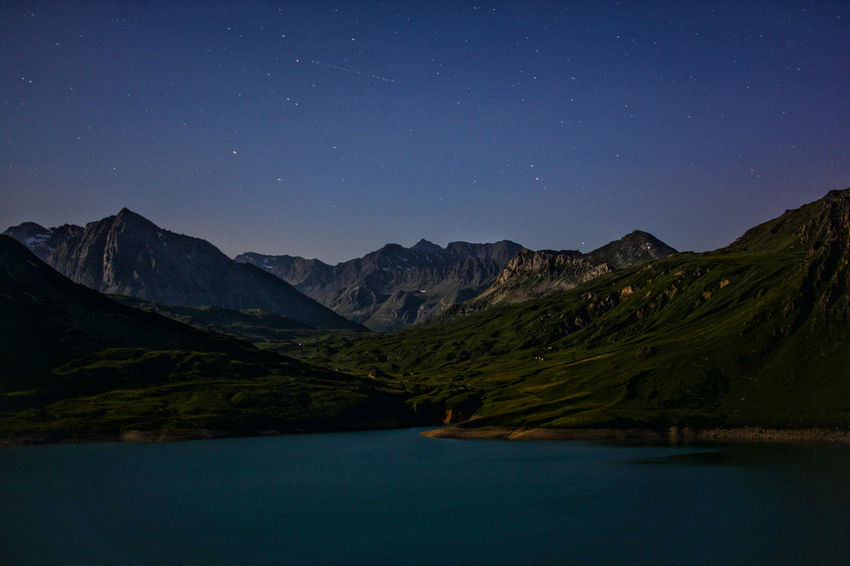 """""""Mountain, lake, stars"""", 2017 Blue Lake Astronomy Astrophotography Beauty In Nature Blue Clear Sky Galaxy Idyllic Lake Landscape Moon Mountain Mountain Range Nature Night No People Outdoors Scenics Sky Star - Space Tranquil Scene Tranquility"""