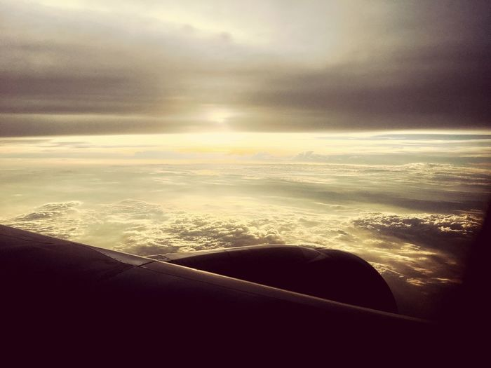 Beauty In Nature Nature Cloud - Sky Scenics Sunset Sky Airplane Airplane Wing Day Landscape Outdoors Journey Tranquil Scene Transportation Air Vehicle No People Aerial View Tranquility
