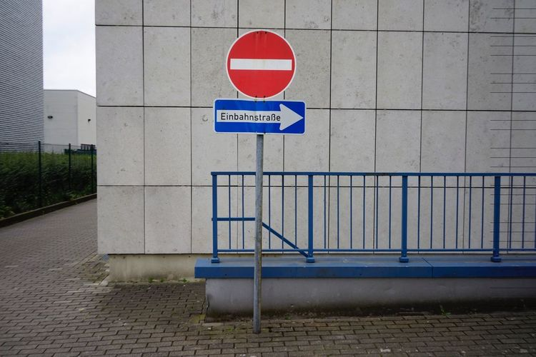 No entry sign against wall