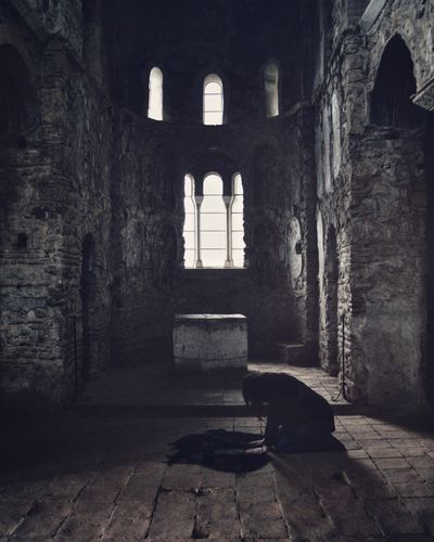 Redemption Church Window Dark Indoors  Redemption Woman Feeling Light And Shadow Stone Abandoned Dramatic Abandoned Buildings Mystery