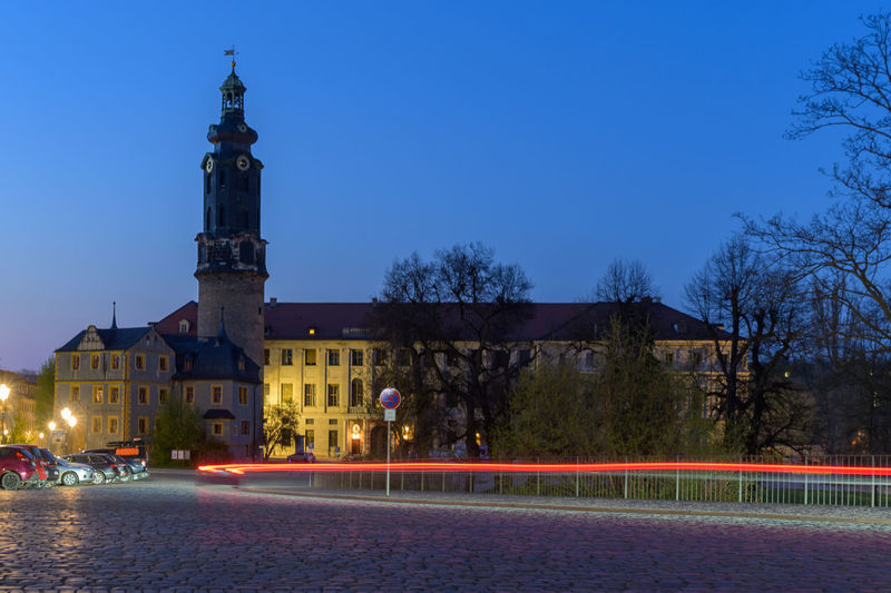 Stadtschloss Weimar at the Blue Hour in Weimar by Night Architecture Weimar Blue Hour Blaue Stunde Thuringen Thuringia City Goethe Nightphotography Nikonphotography Nikon Z6 Tamron 17 50 F/2.8 Night Blue Building Long Time Exposure Langzeitbelichtung City Life City View  Stadtschloss Weimar Stadtschloss