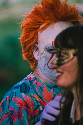Close-up of people wearing halloween costumes