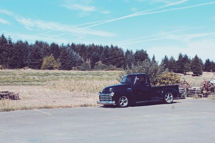 Old car ^°^ Transportation Mode Of Transport Land Vehicle Tree Car Landscape Street Stationary Road Parking Travel Blue Dirt Road Sky Outdoors Day Sunny Vapor Trail Parked Vehicle
