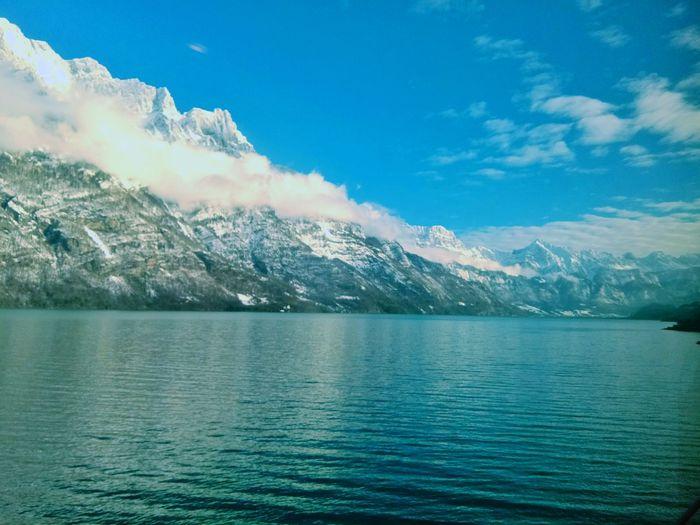 svizzera, waler lake Landscape Landscape_Collection Alpine Water Mountain Snow Lake Blue Tree Snowcapped Mountain Winter Reflection Sky Mountain Peak Wilderness Alpine Mountain Ridge