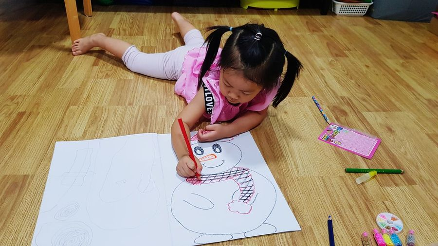 Painting Snowman ☃️❄ Paint Snowman Christmastime Christmas Craft Drawing Draw Play Kids Playing Girl Activities For Children Activities With Kids Low Section Child Childhood Girls Full Length Playing Domestic Life Home Interior Learning Hardwood Floor Drawing - Art Product Drawing - Activity Sketch Drawing Pencil Drawing Toddler  Sketch Pad
