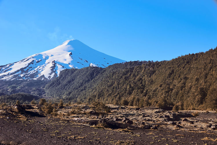 Villarrica volcano... Mountain Sky Scenics - Nature Beauty In Nature Tranquil Scene Tranquility Landscape Environment Blue Non-urban Scene Snow Nature No People Clear Sky Mountain Range Volcano Cold Temperature Idyllic Winter Day Snowcapped Mountain Mountain Peak Outdoors Formation Scenics