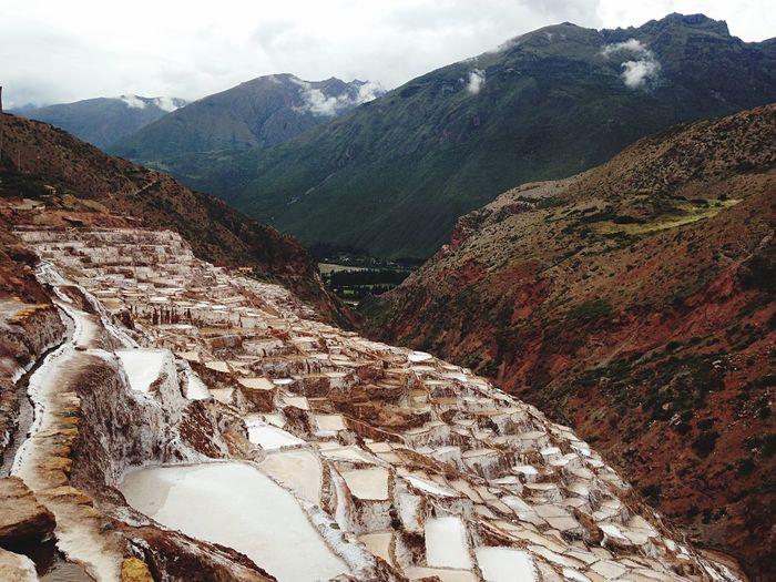 High angle view of salt mine on mountain