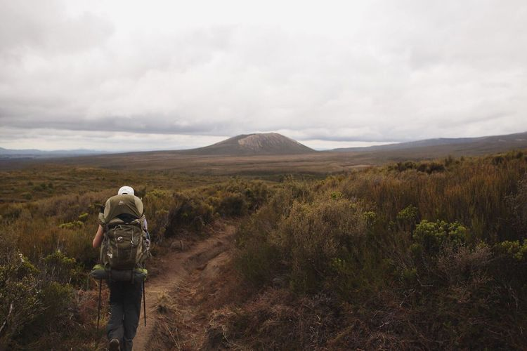 Rear View Landscape Sky Real People Nature Scenics Cloud - Sky Mountain Beauty In Nature One Person Walking Backpack Leisure Activity Tranquil Scene Grass Tranquility Day Lifestyles Outdoors Hiking Woman Who Inspire You Tongarironationalpark Backpacking New Zealand
