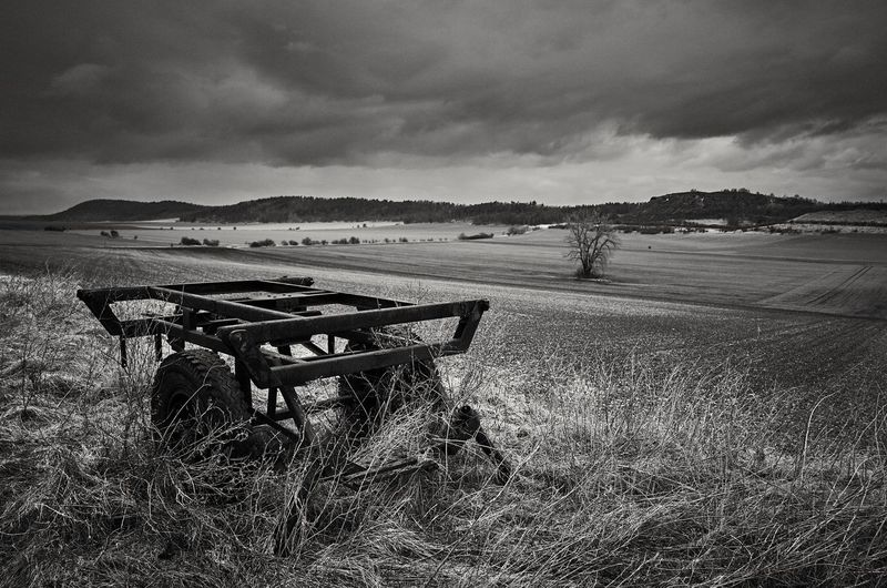 stormy Landscape Monochrome Blackandwhite Land Vehicle Clouds Storm Sky Vehicle Farmland Countryside