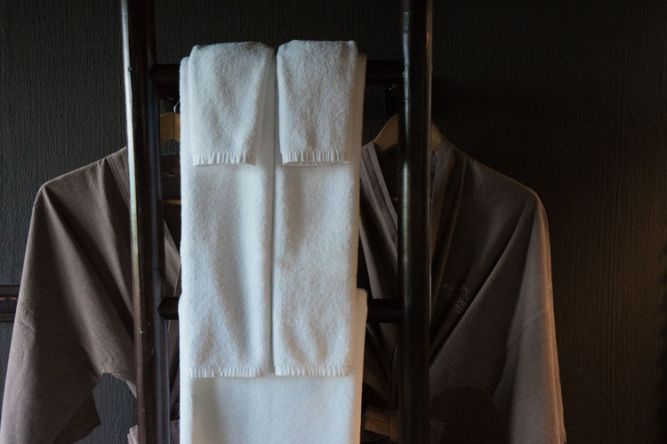 Close-up of clothes and towels at home