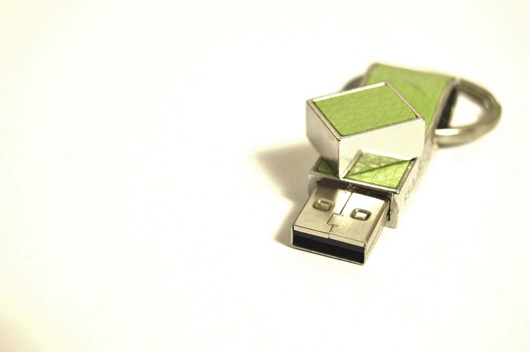 Reflection Silver  White Background Artifical Light Flash Drive Light Green Smile Thumb Drive Usb Drive