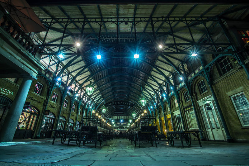 London, Covent Garden, Apple Market Architecture Built Structure Covent Garden Market Day Empty Market Illuminated Indoors  London Market Market At Night Market Place Market Stall Modern Night Photogrpahy No People Vgallova