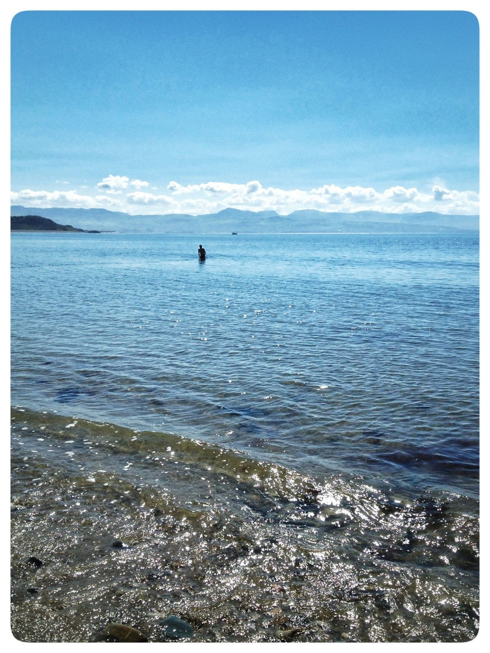 transfer print, water, sea, sky, mountain, scenics, tranquil scene, tranquility, auto post production filter, beauty in nature, nature, blue, idyllic, mountain range, rippled, cloud - sky, cloud, horizon over water, day, outdoors