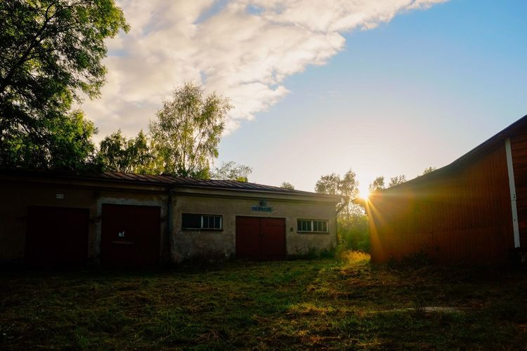 Vallisaari Sunset Architecture Building Exterior Built Structure Cloud - Sky Day Exterior Finland Green Color Helsinki House Lens Flare No People Outdoors Residential Building Residential Structure Sky Sun Sunbeam Sunlight Sunset Vallisaari
