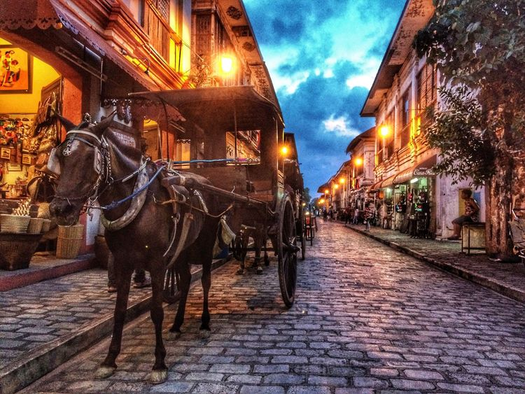 Horsedrawn Built Structure Building Exterior Architecture Cobblestone Cloud - Sky Horse Street Horse Cart Outdoors Animal Themes Sky Illuminated Domestic Animals Transportation Mode Of Transport Night No People City One Animal