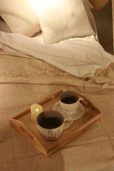 Bed Bedroom Bedroom View  Candle Coffee Cups Home Interior Indoors  Natural Colours No People Pillow Pillows And Blankets Romantic Romantic Place Two Cups Wooden Tray