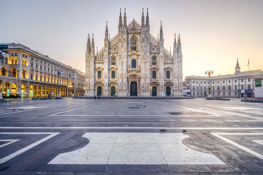 Piazza del Duomo, Milan, Italy. Cathedral Cityscape Milan Milan Cathedral Milano Piazza Del Duomo Architecture Building Exterior Built Structure Clear Sky Day Dome Duomo Di Milano Empty Square History Italy No People Outdoors Place Of Worship Religion Sky Spirituality Tourism Travel Travel Destinations