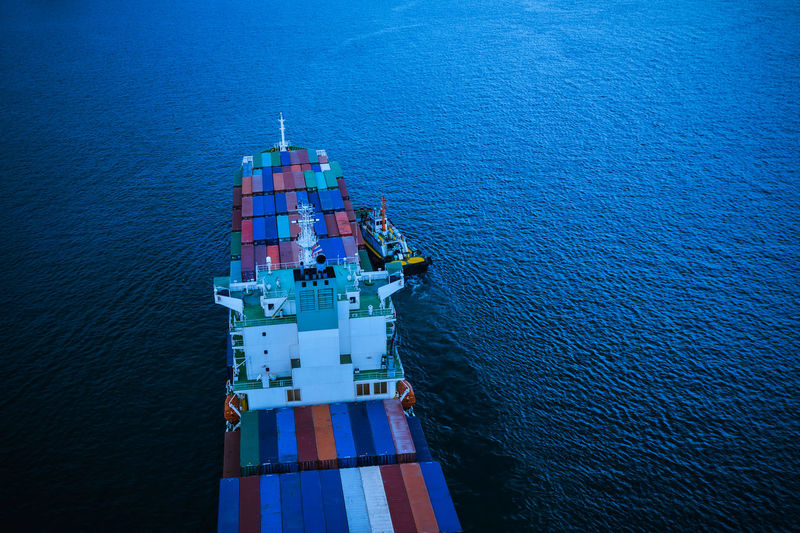 High angle view of ship moving on sea