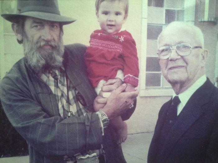 from left to right, Charles Archer (My Grampa) , Opal Archer (Sister), Buckminsterfuller. BUCKYBALL Buckminster Fuller