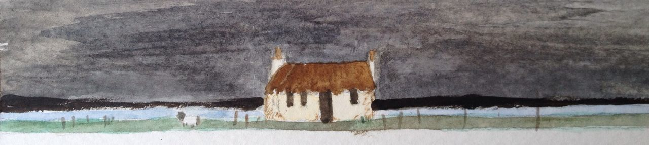 Cottage watercolour after artist Robert Lawson Jolly Thin!