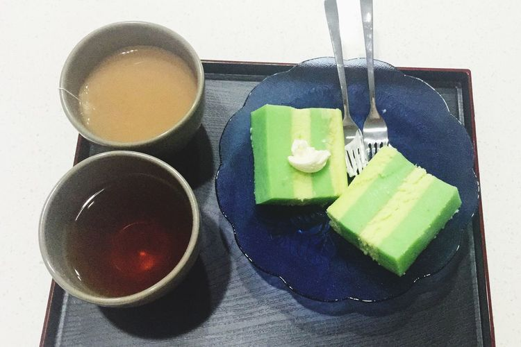Kaya Cake Breakfast with Lipton tea only in Singapore (cake from Tiong Bahru )