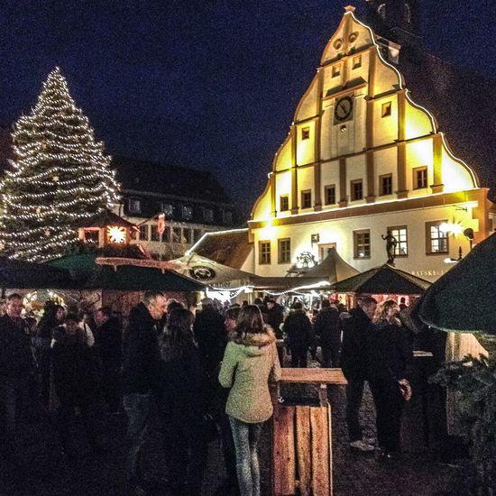2016 Architecture Christmas Market City Grimma Marktplatz Night Rathaus Real People Sachsen Weihnachtsmarkt