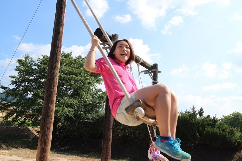 Japanese Girl Playing Like Children! Blue Sky And A Girl