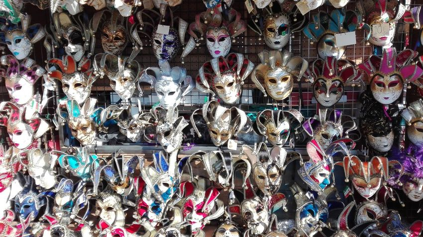 Full Frame Backgrounds Variation Hanging Large Group Of Objects For Sale No People Choice Multi Colored Close-up Day Check This Out Hello World Mask Venice, Italy Carnival Venice Fun Group Of Objects Crazy Italy Masks Outdoors Buying Souvenir