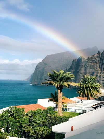 Tree Plant Rainbow Water Sky Beauty In Nature Sea Scenics - Nature Mountain Architecture Palm Tree Built Structure Building Exterior Nature No People Outdoors Cloud - Sky Tropical Climate Day Swimming Pool