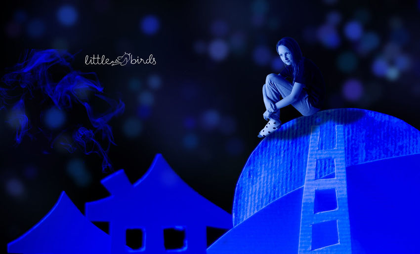 girl on a moon Blue Girl Imagination Imaginative Moon Paper Paper Dolls Paper Town Paper World