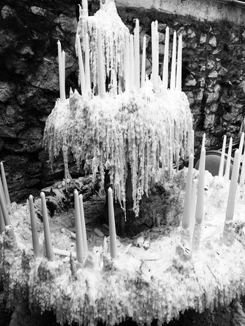 🕯🕯🕯 Monochrome Design Artist Cold Temperature No People Frozen Nature Snow Winter Day Belief Candle Outdoors Religion Tree Plant Spirituality Land Ice Large Group Of Objects Environment Place Of Worship Icicle
