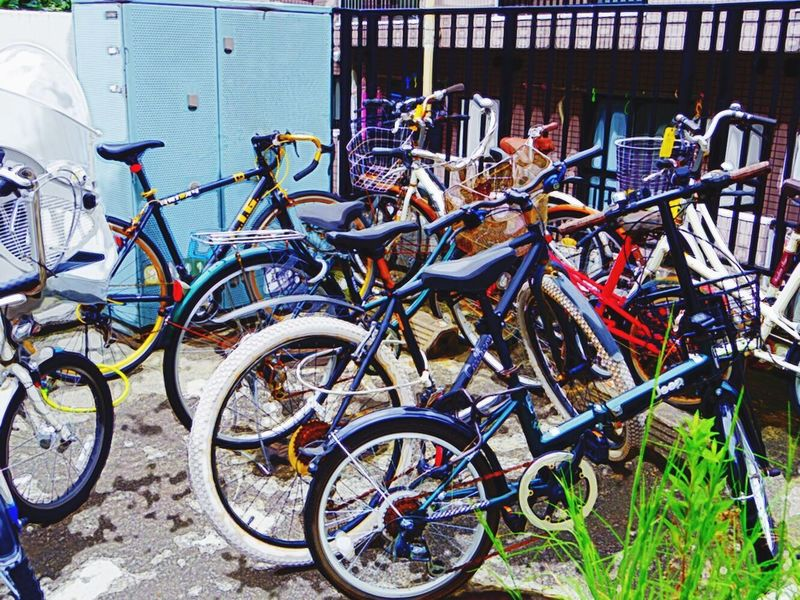 Bicycle Land Vehicle Outdoors No People Bicycle Rack Large Group Of Objects Kagurazaka